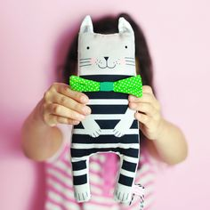 soft toy cloth doll kitten with bow tie - by PinkNounou
