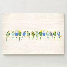 Birch Print - Parakeets on Branch #westelm