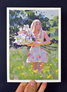 Summer Bouquet original gouache figure painting FREE by LenaRivo Poster Color Painting, L'art Du Portrait, Traditional Paintings, Traditional Art, Guache, Pastel, Learn Art, Gouache Painting, Cool Paintings