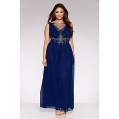 Buy Curve Navy Chiffon Embellished Mesh Detail Maxi Dress online now from Quiz. Bridesmaid Dresses Plus Size, Prom Dresses, Formal Dresses, Bridesmaids, Plus Size Clothing Online, Chiffon, Bridesmaid Inspiration, Plus Size Girls, Plus Size Outfits