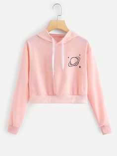 Shop Graphic Print Drawstring Hoodie at ROMWE, discover more fashion styles online. Cute Lazy Outfits, Crop Top Outfits, Teenage Outfits, Pretty Outfits, Girls Fashion Clothes, Teen Fashion Outfits, Woman Clothing, Sweat Style, Jugend Mode Outfits