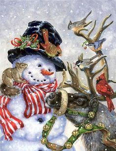 Snowman and reindeer, and their feathered and fur friends ~ Donna Race