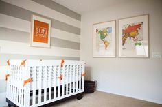 Striped accent walls, map globe, nursery themes, nursery ideas, travel them Travel Theme Nursery, Nursery Themes, Nursery Ideas, Themed Nursery, Map Nursery, Chic Nursery, Nursery Decor, Bedroom Ideas, Striped Accent Walls