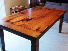 Rustic Maple Harvest Table With Stain And Matte Epoxy Finish: