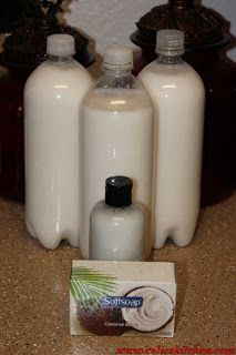 Homemade body wash: 1 bar of soap (I used Soft Soap Coconut Scrub) ½ tbsp. of Glycerin 4 cups water ½ cup pure coconut oil