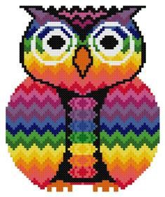 Bargello Zigzag Chakra Owl Counted Cross Stitch by TheGiftMarket, $3.00