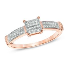I've tagged a product on Zales: 1/6 CT. T.W. Diamond Square Cluster Promise Ring in 10K Rose Gold