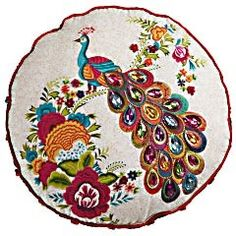 Embroidered Peacock Pillow