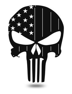 American Flag Punisher Skull metal wall art is a patriotic piece with a tough superhero flair along with stripe-like protrusions, with star-shaped cutouts. Skull Stencil, Stencil Art, Skull Art, Stencils, Skull Logo, Punisher Tattoo, Punisher Skull Decal, Punisher Logo, Tattoo Caveira