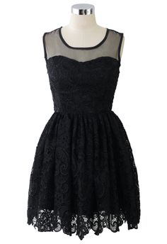 Lace Crochet Sleeveless Prom Dress in Black - Retro, Indie and Unique Fashion