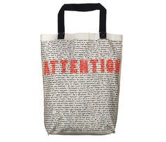 ATTENTION | Screen printed eco-friendly bag | Design by Nutty Tarts | by BAGNANAS Eco Friendly Bags, Bag Design, Printed Tote Bags, Tarts, Straw Bag, Screen Printing, Reusable Tote Bags, Prints, Cake Rolls