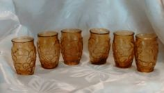 Set of 6 Vintage Amber Glass Shot Glasses by VintageGlassEscape