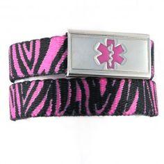 Pink Zebra Medical ID Bracelets by N-Style ID