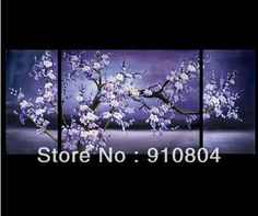 Framed 3 Panels High End 3 Piece Tree Paintings Purple Cherry Blossom Wall Decor L1192