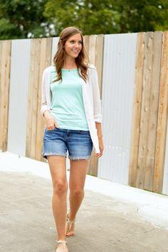 mint tee + boyfriend sweater + cut off jeans #gtrsummerremix