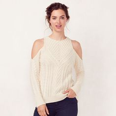 Women's LC Lauren Conrad Crewneck Cold-Shoulder Sweater, Size: Small, White Oth