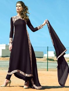 Luxury Designer Black Urge Anarkali Suit