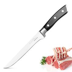 The SKY LIGHT Boning Knife Inch Fillet Fish Knife is great for removing the bones of meat, its protective finger guard will ensure your safety. Chef Knives, Fish Knife, Fillet Knife, Kitchen Knives, Poultry, Bones, Finger, Safety, German