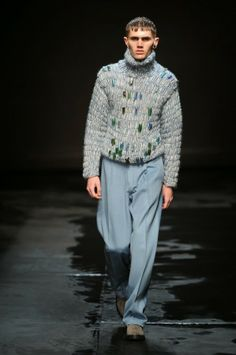 Kate Jenkins of Cardigan has been working on men's #crochet sweaters for Topman for the London runways