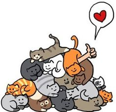 "Now I get why some cat ladies get the epithet ""crazy""... Oh, no, I don't agree, but this must SEEM crazy to people who are not like that... Which I am. :-D Crazy cat lady. I would love being in the middle of that pile. :-D"