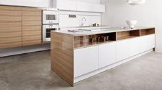 Eggersmann - High gloss Elm veneer, pure white laminate, 12 mm stainless steel worktop - almost KLI Design 2 white laminate
