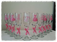 Monogrammed Glasses, Wine Glass, Champagne, Bridesmaid, Etsy, Unique Jewelry, Tableware, Handmade Gifts, Vintage