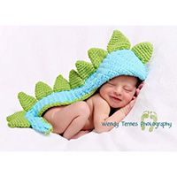 BLUE AND GREEN DINOSAUR  KNIT HAT