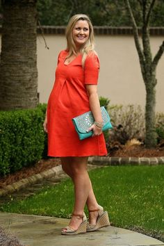 cute maternity dress, dressing for maternity, trendy maternity outfit, dressing while pregnant, tory burch wedges, coral dress, cute pregnancy outfits, how to dress for pregnancy,