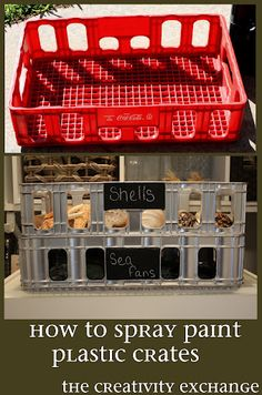 Spray Painting Tips and Tricks - Plastic Crate Revamp - Home Improvement Ideas and Tutorials for Spray Painting Furniture, House, Doors, Trim, Windows and Walls - Step by Step Tutorials and Best How To Instructions - DIY Projects and Crafts by DIY JOY Spray Painting, Painting Tips, Painting Art, Spray Paint Plastic, Plastic Plastic, Plastic Storage, Painting Plastic Bins, Plastic Items, Plastic Milk Crates