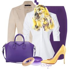 A fashion look from August 2014 featuring button down shirt, ralph lauren jacket and purple skirt. Browse and shop related looks. Stylish Work Outfits, Classy Outfits, Chic Outfits, Fashion Outfits, Womens Fashion, Modest Fashion, Purple Outfits, Purple Skirt, Purple Yellow
