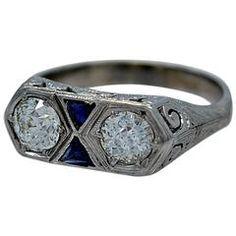Art Deco Sapphire Diamante Anel de noivado de ouro