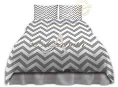 Grey and White Bedding - Duvet Cover Chevron - White and Grey Bedding…
