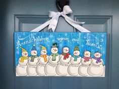 Snowman Wall Art Personalized Family Art by theRedheadedArtist Christmas Wood Crafts, Christmas Signs, Christmas Snowman, Christmas Projects, Holiday Crafts, Holiday Decor, Christmas Paintings On Canvas, Christmas Canvas, Family Painting