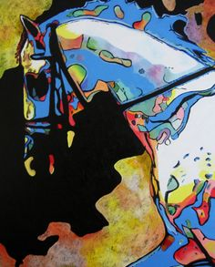 HORSE OF COLOR acrylic painting of a horse.  by conniesonnenberg, $20.00