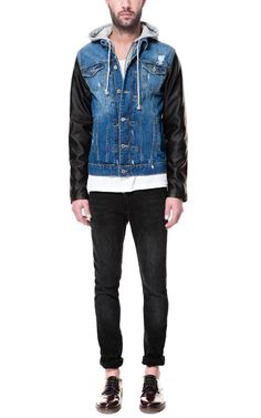 Slightly Distressed Hooded Jean Jacket with Faux Leather Sleeves  99.90 USD