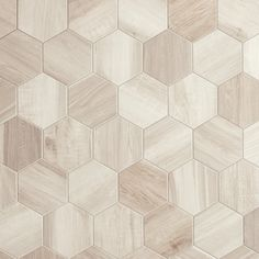 Hexagon Wood White 24 cm x 27.7 cm - Baked Tiles