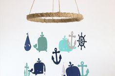 Rustic Burlap Nautical Nursery Mobile in Navy by LovebugLullabies
