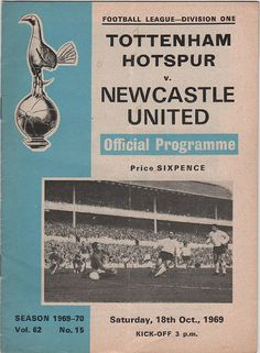 Vintage Football Programme - Tottenham Hotspur v Newcastle United, 1969/70 season, by DakotabooVintage, £1.99