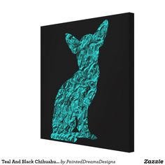 Teal And Black Chihuahua Silhouette Canvas Print