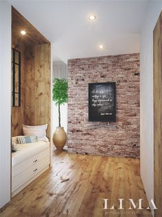Brick Accent Walls, Exposed Brick Walls, Brick Interior, Home Interior Design, Style At Home, Inside A House, 2 Bedroom House Plans, Small Apartment Design, Home Fashion