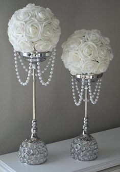 white flower ball with draping pearls wedding decor bridal shower flower girl choose your Wedding Bouquets, Wedding Flowers, Flower Girl Bouquet, Flower Girls, Deco Floral, Table Centerpieces, Elegant Centerpieces, Centerpiece Ideas, Bling Centerpiece
