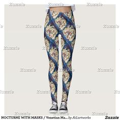 NOCTURNE WITH MASKS / Venetian Masquerade Leggings #fashion #woman #fantasy #carnival #clothing #mask #artdeco #art