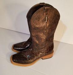08fcf77f5563 Roper Croc Print Faux Leather Cowgirl Boot Square Toe Brown Bronze Shiny  Croc 7M  Roper