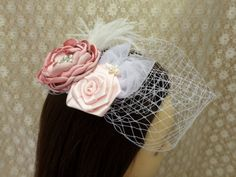 Wedding Birdcage Veil Bridal Fascinator by MagicBluebellDesigns