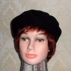 3141d27f Jet black color boiled wool beret-Women's french style beret-Pure felted wool  hat-Classic women beret-Black wool beret-Handmade trendy beret