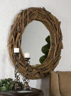 """Teak Root Driftwood Round Mirror 50"""""""""""