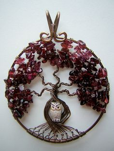 Red Garnet Tree of Life Wire Wrapped Pendant by RachaelsWireGarden, $55.00. I like this idea with something other than an owl in the trunk
