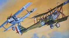 Roy Cross box art for Airfix Dogfihht Double, RAF RE8 vs LFG Roland C.ll