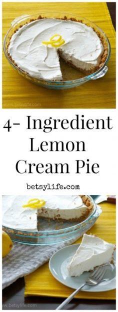 4 Ingredient Lemon Cream Pie. The easiest dessert recipe you will ever make. Great for summer potlucks!