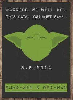 Save The Date Yoda Card Star Wars Wedding